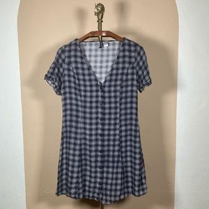 H&M Divided Button Front Navy Plaid Casual Dress